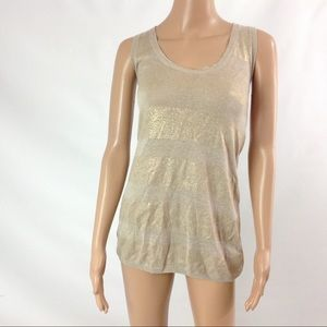 Tory Burch Women Knit Tank Top Size S Gold